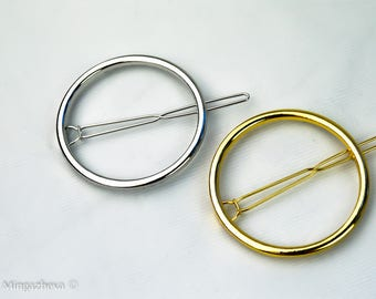 Hair pin clip decoration accessory circle gold silver Valentine's Day gift idea