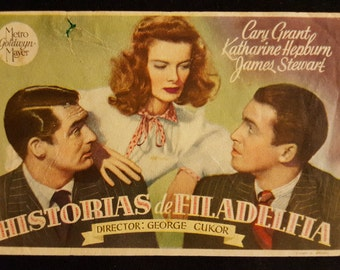 Original 1940 The Philadelphia Story Spanish Herald Movie Poster Katharine Hepburn, Cary Grant, James Stewart