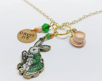 Alice in Wonderland Inspired Hand-Stamped Charm Necklace, charms, storybook, handmade