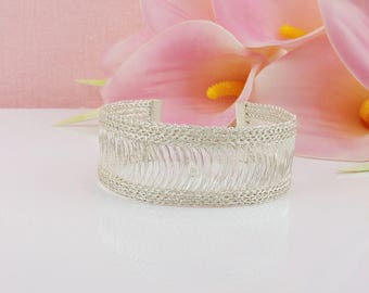 Silver WireLuxe Wire Crochet Cuff Silver Wire Cuff Wire Knit Everyday Bracelet Bridesmaid Bracelet Bridesmaid Gift  FREE US Ship