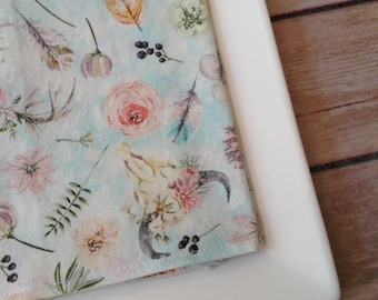 Vintage Boho Floral, 12x12 Cotton Napkins, Set of 6
