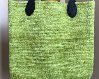 Bright green (chartreuse) wool felt tote bag