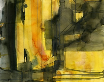 "Black, Yellow Abstract Painting, Watercolor, Art, ""Abstract Odyssey"" Original mixed water media ooak painting by Kathy Morton Stanion EBSQ"