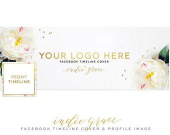 White Peony Facebook Timeline Cover - Styled Stock Photo - Clean Photography Photoshop Template - Instant Download