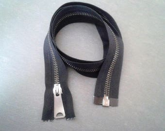 Zipper closure 80cm black metal separable