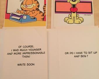 Four Vintage Garfield & Odie greeting cards