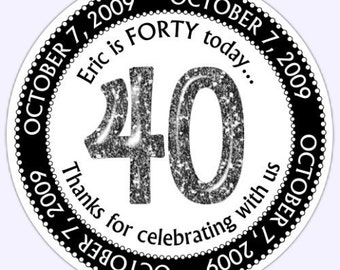 Custom 40th Birthday Labels, 40th Birthday Stickers - Personalized for you