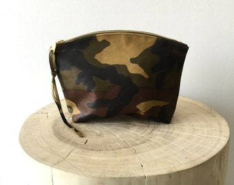 camouflage leather clutch, camo leather cosmetics clutch, makeup bag , travel pouch , small zipper pouch- Sale