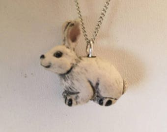 Ceramic White Bunny Rabbit Pendant Necklace 18""