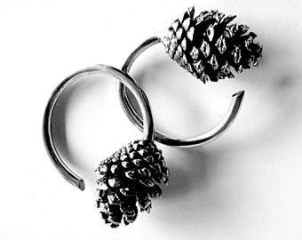 Pine Cone Weights Silver - Hanging Weights - Stretched Lobes - Ear Weights - Body Mod