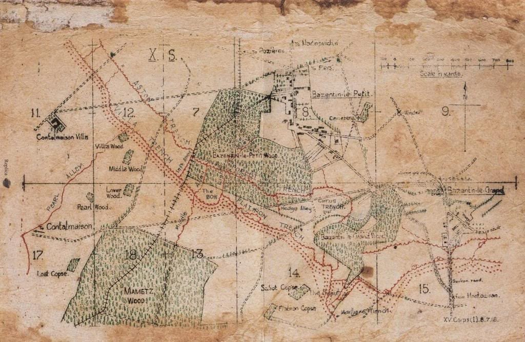 WW1 20th Infantry Battle Plans and Map for Capture OF Montauban