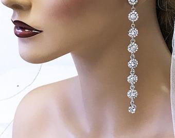 High Fashion Bridal earrings, Bridal jewelry, Long drop wedding earrings jewelry, Silver Bridesmaid crystal earrings, Ballroom Prom earrings