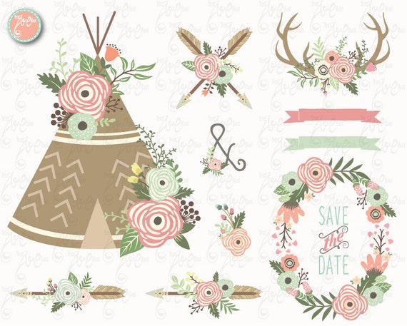 floral tribal clip art floral teepeeclipart rh etsy com tribal clipart vector tribal clipart png