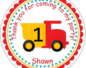 Dump Truck  - Personalized Stickers, Party Favor Tags, Thank You Tags, Gift Tags, Address labels, Birthday, Baby Shower