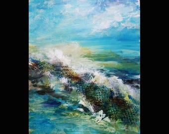 """Force Of  Nature 16""""w by 20""""h Acrylic Painting-- Free Shipping"""