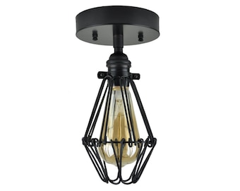 HENRY - Black Cage Light - Ceiling Light, UL Listed, Accent Lighting, Minimalist Light, Metal Cage Light