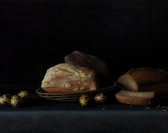 A bread and quail eggs, 2018,  40 x 60 cm, oil on canvas, classic original artwork