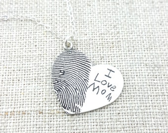 Custom Jewelry · Personalized Fingerprint · Mom Gift · Jewelry · Personalized Necklace · Gift · Memorial Necklace · ACTUAL Handwriting