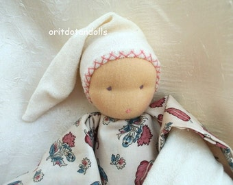 Waldorf doll for babies and toddler handmade of natural materials 12inch \ 30cm-בובת וולדורף לתינוקות