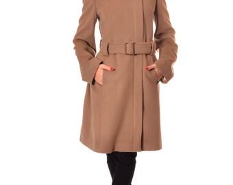 Camel Wool Coat, Winter Coat Women, Womens Wool Coat, Warm Coat, Winter Jacket, Zip Camel Coat, Elegant Coat, Wool Jacket, Danelys D14.07.02