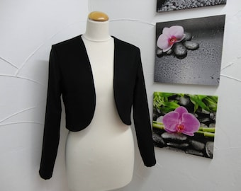 Long vest-Bolero in Black wool with long sleeves