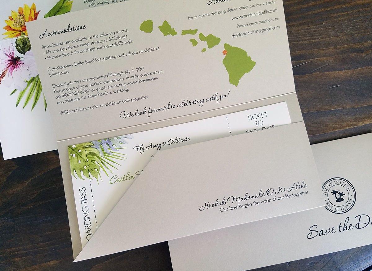 Canadian Wedding Invitations: Destination Wedding Invitation Tropical Wedding Invitation