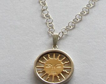 The Sun 14k Solid Gold Sun - Sterling Silver Pendant by Cardfortune