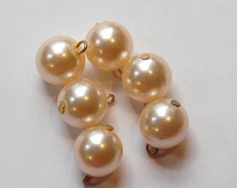 Vintage Light Champagne Pearl Bead Drops Japan 12mm drp031