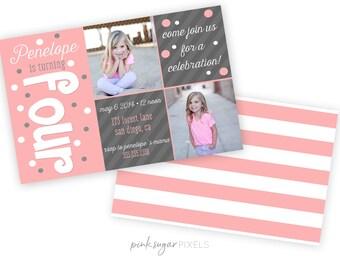 Polka Dot Birthday Invite - Printable Girl Invitation - Photocard Invitation - Girl Birthday Invite - Stripes - Personalized Invitation