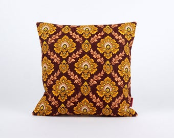 Brown Pillow Cover - yellow damask pattern - decorative pillow - throw pillow cover - mid century modern home decor by EllaOsix