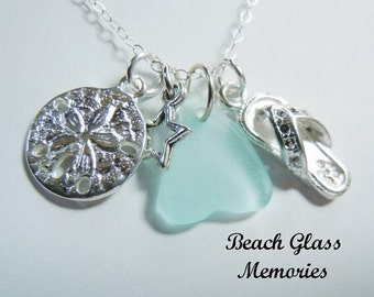 Sea Glass Necklace Sand Dollar Flip Flop Beach Glass Necklace  Beach Glass Jewelry