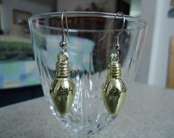 Gold Plastic Christmas Mini Lightbulb Earrings