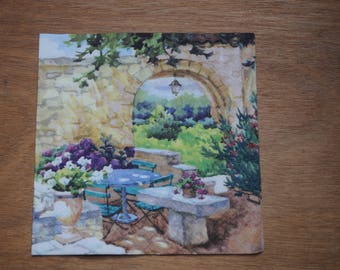 """home deco """"flowery terrace"""" themed paper napkin"""