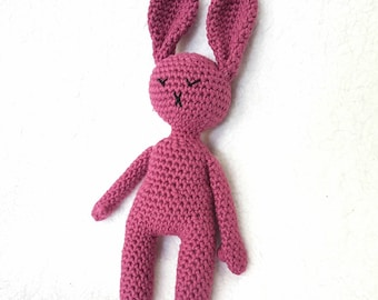 Handmade Crochet Sleepy Purple Bunny Rabbit