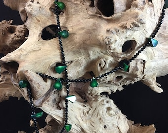 Black Onyx and green coral necklace