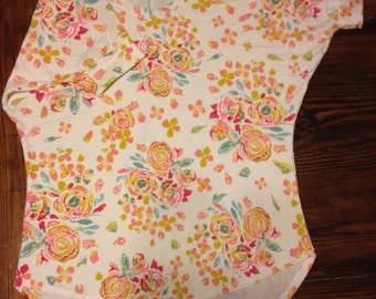 Small Perfect Daily Dolman, Floral on Off-White