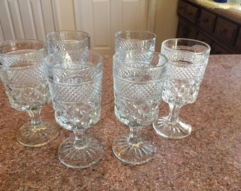 Six vintage anchor and hocking Wexford crystal stems glasses