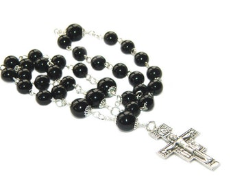 Anglican or Protestant Rosary - Christian Prayer Beads in Black Onyx, San Damiano Cross