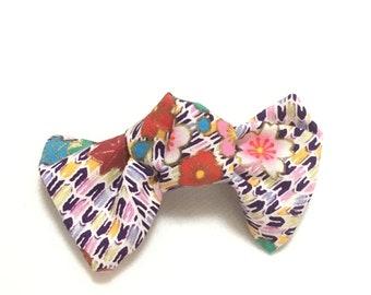 Bow hair clip, Japanese Kimono floral pattern Fabric Bow, Japanese hair clip,  hair accessory, Japanese ribbon, FREE SHIPPING