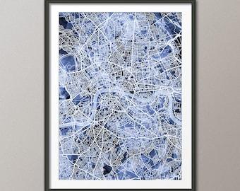 London Map, City Street Map of London England, art print (3035)