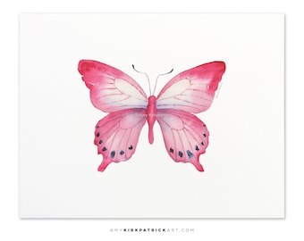 Pink Butterfly Painting, Pink Butterfly Print, Original Pink Watercolor Butterfly, Butterfly Greeting Cards, 108 Pink Laglaizei Butterfly
