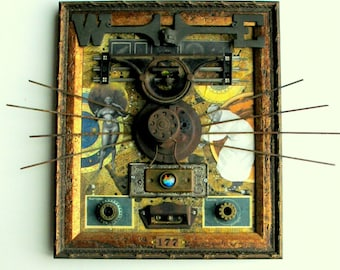 Mixed Media Assemblage Found Object Wall Hanging Art