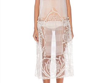 1920s White Net And Lace Dress Size: S