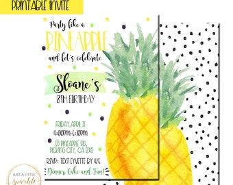 Pineapple invitation, Pineapple Birthday invite, Fruit theme party, Party like a pineapple invitation