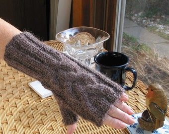 Fingerless Gloves Chocolate Brown Heather  ALPACA BLEND, Ladies - Very Soft