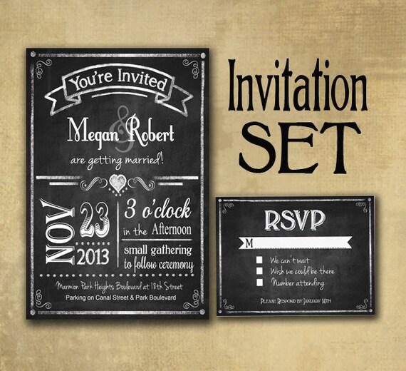Rustic Chalkboard Style Wedding Invitation Set includes