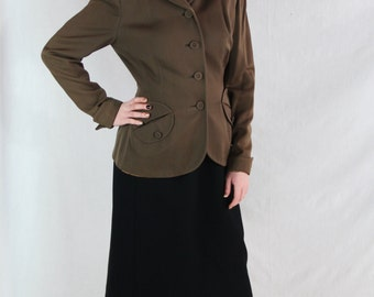40s Jacket, Hyde Park Drum, Art Deco, Nipped Waist, 1940s