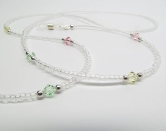 Clear Beaded Eyeglass Holder with Pastel Swarovski Crystals, Womens Eyeglass Chain, Reading Glasses Chain, Glasses Lanyard, Glasses Necklace