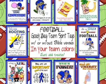 Custom Football Team Treat Goody Candy Bag Tags