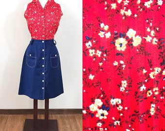 1960s Skirt and Blouse Set / Vintage / Wild West / 2 pieces / Red and Blue / Texas